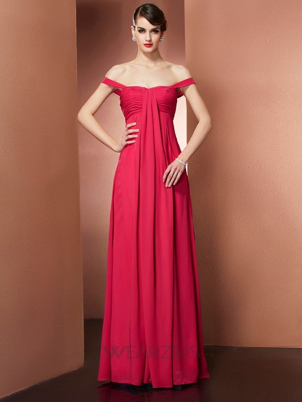 A-Line/Princess Off-the-Shoulder Sleeveless Pleats Floor-Length Chiffon Dresses