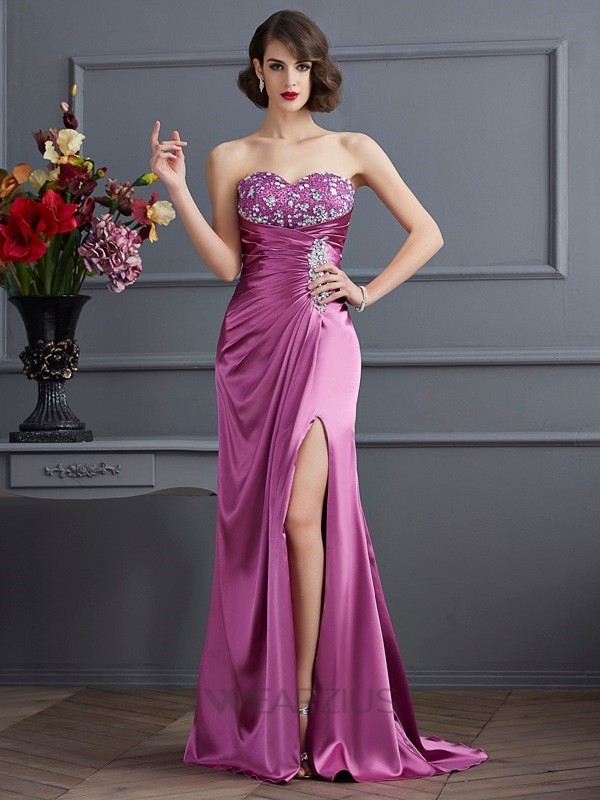 Sheath/Column Sweetheart Sleeveless Sweep/Brush Train Beading Elastic Woven Satin Dresses