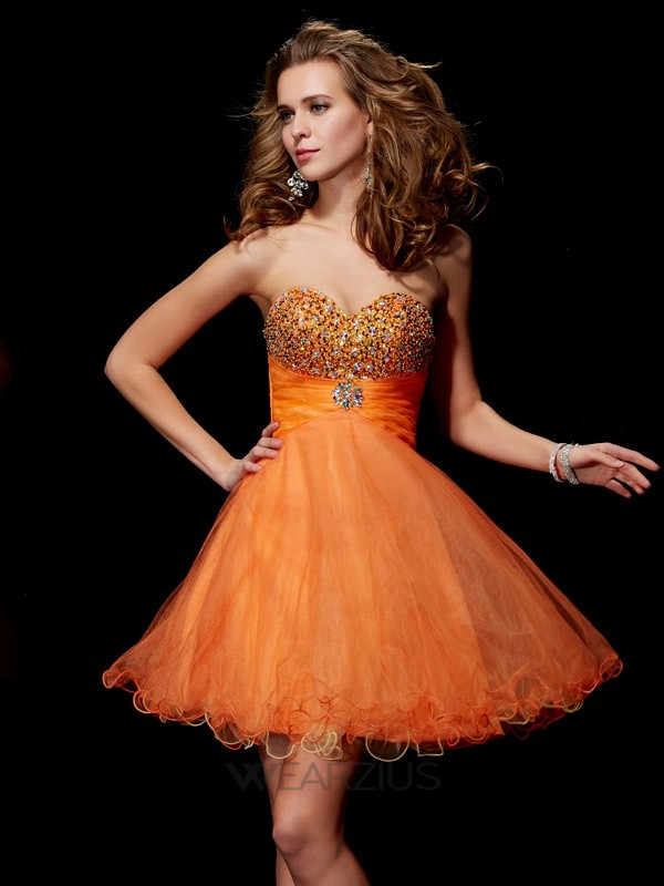 A-Line/Princess Sweetheart Strapless Organza Satin Beading Short/Mini Dresses
