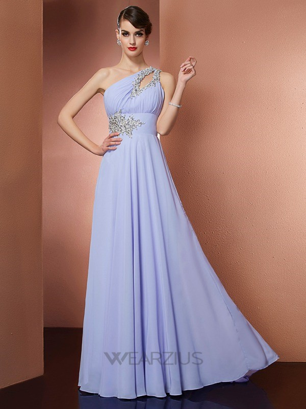 A-Line/Princess One-Shoulder Sleeveless Sweep/Brush Train Applique Beading Chiffon Dresses