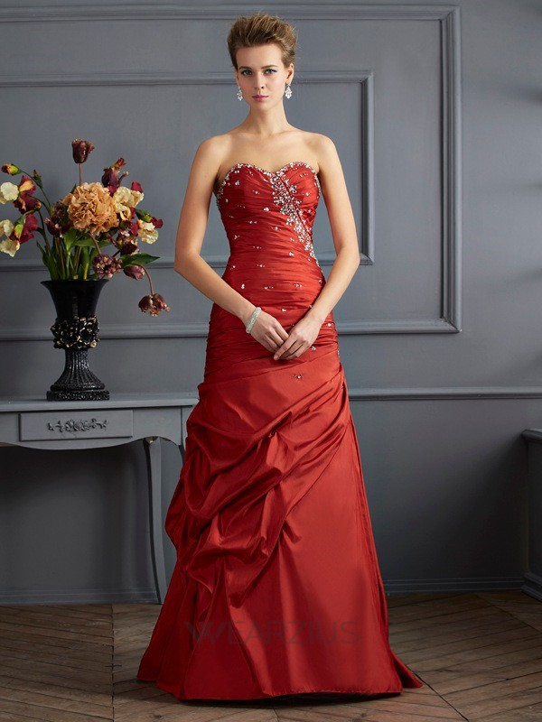 Trumpet/Mermaid Sweetheart Sleeveless Floor-length Taffeta Beading Dresses