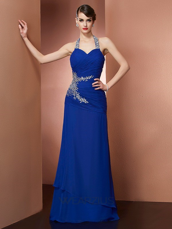 Sheath/Column Sleeveless Chiffon Floor-Length Halter Beading Dresses