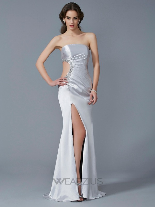 Mermaid Strapless Sleeveless Elastic Woven Satin Sweep/Brush Train Beading Dresses