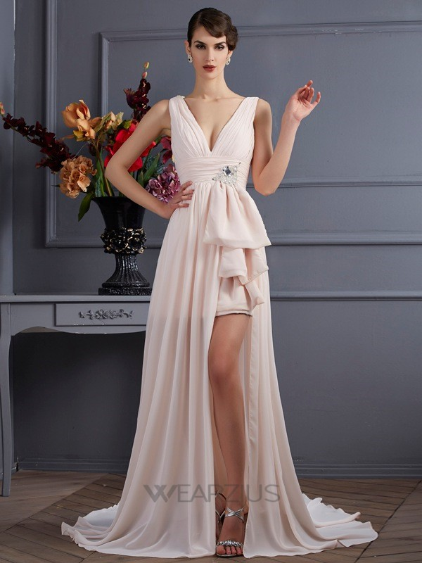 A-Line/Princess Straps Sleeveless Chiffon Court Train Beading Dresses
