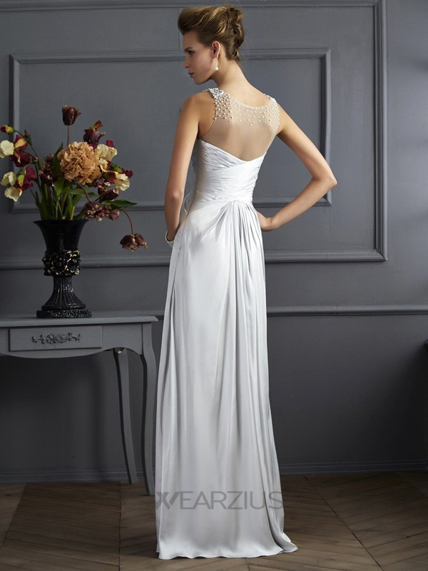 A-Line/Princess Straps Sleeveless Silk like Satin Beading Floor-Length Dresses