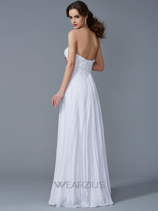 A-Line/Princess Sweetheart Sleeveless Ruffles Chiffon Floor-Length Dresses