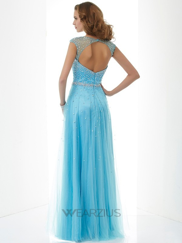 Sheath/Column High Neck Sleeveless Floor-Length Net Beading Dresses
