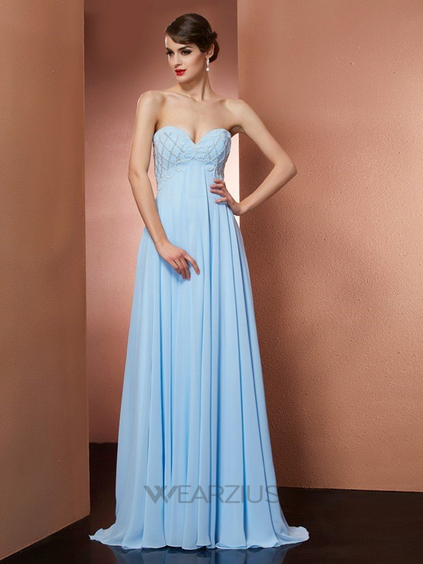 A-Line/Princess Sweetheart Sleeveless Floor-Length Beading Chiffon Dresses