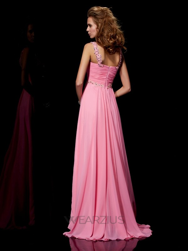 A-Line/Princess Straps Sleeveless Beading Chiffon Sweep/Brush Train Dresses