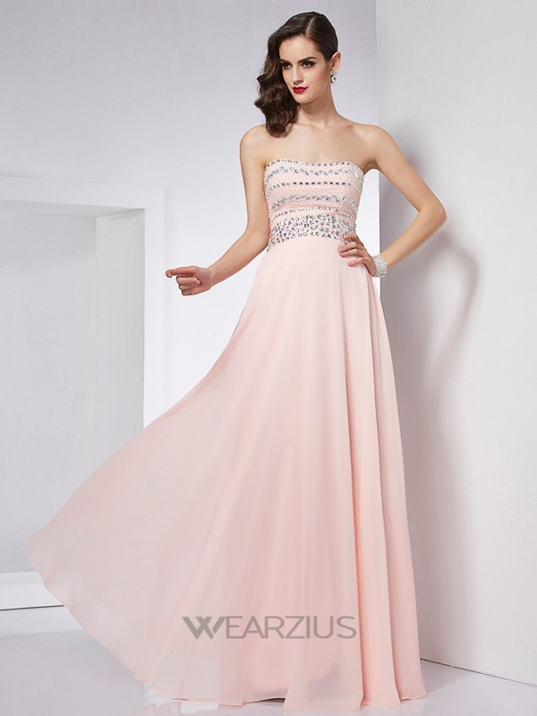 A-Line/Princess Strapless Sleeveless Floor-Length Beading Chiffon Dresses