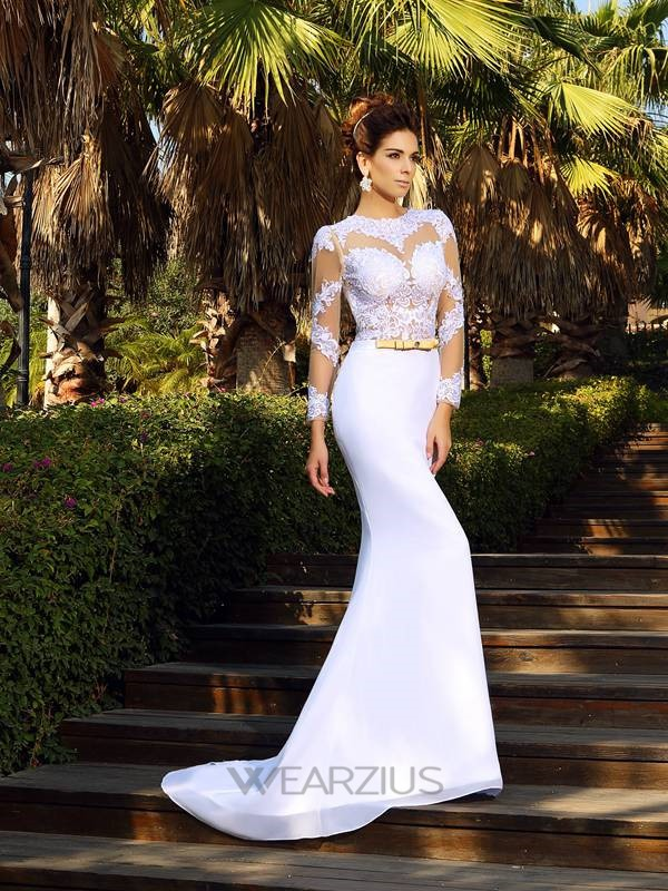 Sheath/Column Scoop Long Sleeves Court Train Satin Lace Wedding Dresses