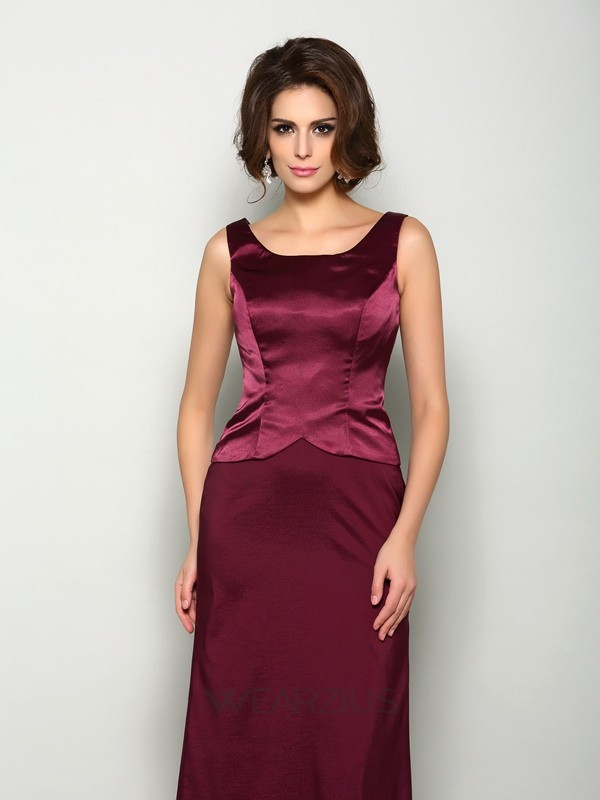 A-Line/Princess Sleeveless Floor-Length Square Elastic Woven Satin Mother of the Bride Dresses