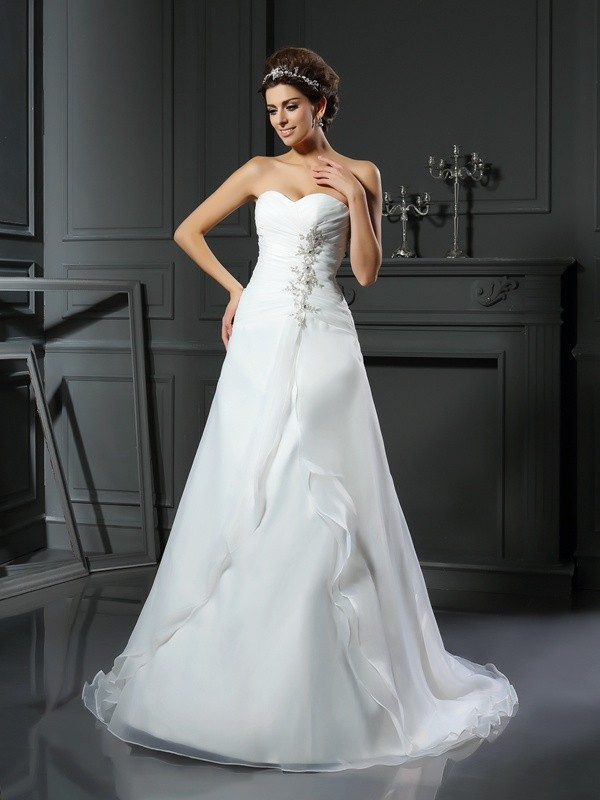 A-Line/Princess Sweetheart Sleeveless Ruched Chapel Train Satin Wedding Dresses
