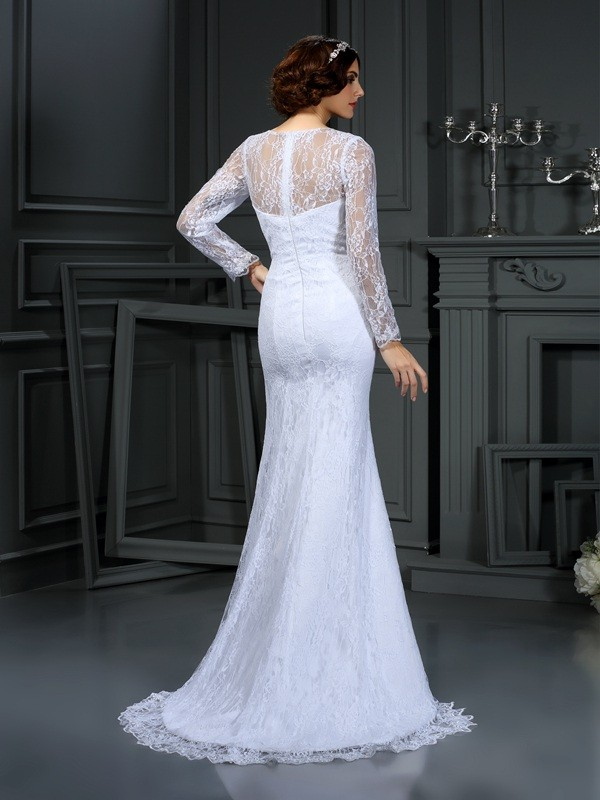 Sheath/Column Scoop Long Sleeves Lace Satin Court Train Wedding Dresses