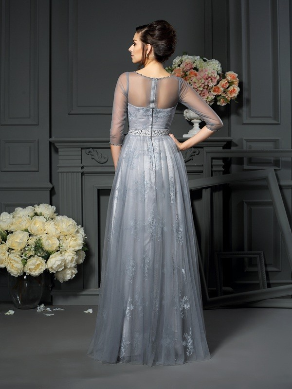 A-Line/Princess Scoop 1/2 Sleeves Lace Floor-Length Satin Mother of the Bride Dresses