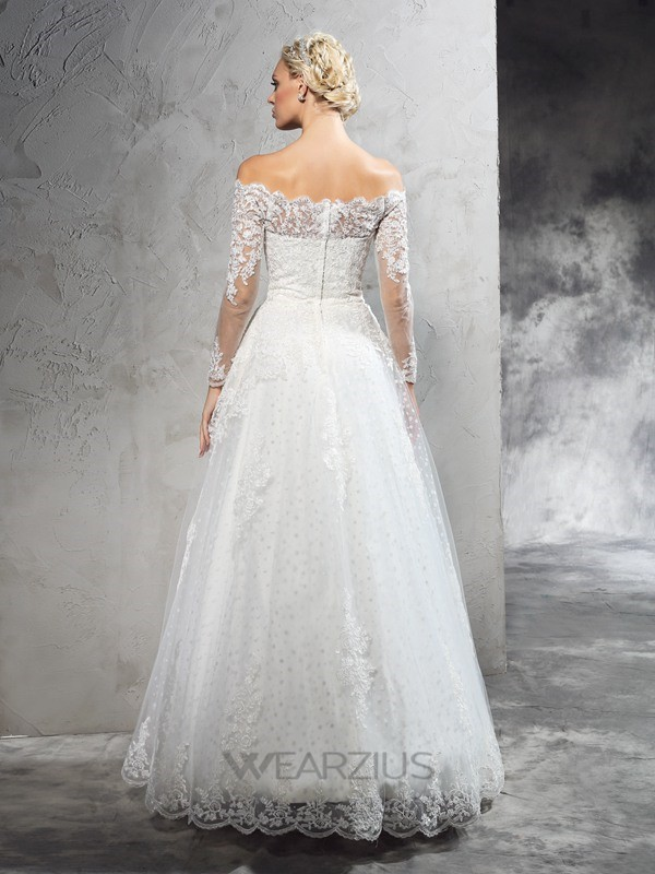 Ball Gown Long Sleeves Off-the-Shoulder Floor-Length Lace Net Wedding Dresses