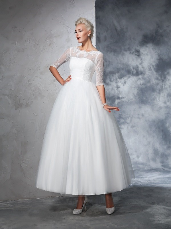 Ball Gown 1/2 Sleeves Net Ankle-Length Lace Bateau Wedding Dresses
