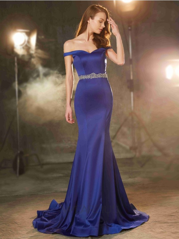 Trumpet/Mermaid Crystal Sleeveless Off-the-Shoulder Sweep/Brush Train Satin Dresses