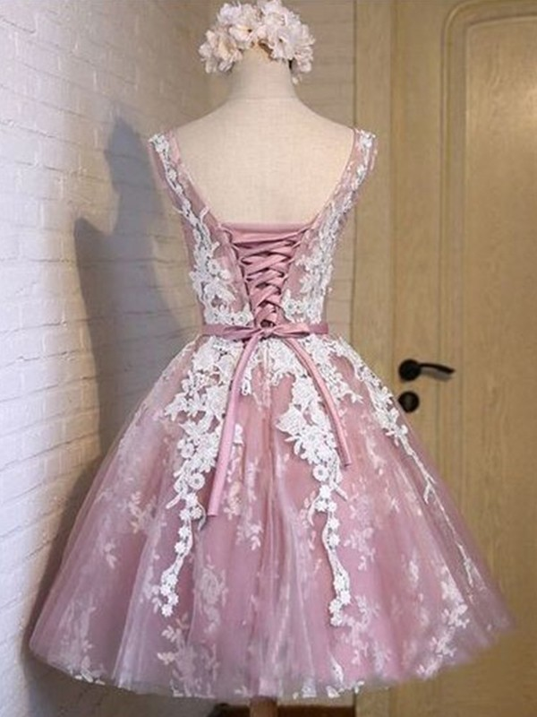 A-Line/Princess Scoop Applique Tulle Short Dresses