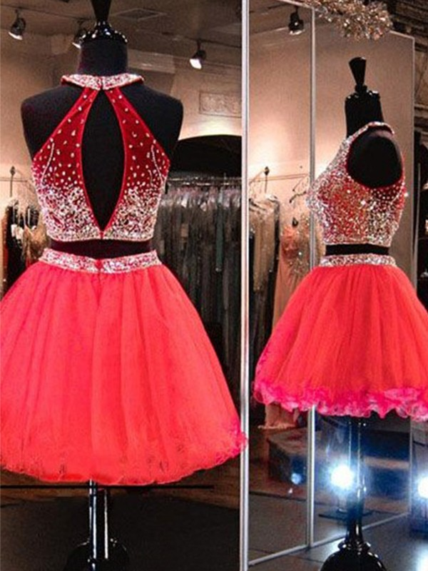 A-Line/Princess Halter Beading Tulle Two Piece Short Dresses