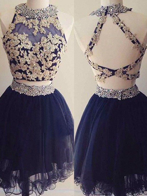 A-Line/Princess Halter Beading Tulle Short Two Piece Dresses