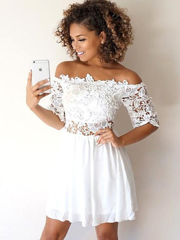 A-Line/Princess Off-the-Shoulder Chiffon 1/2 Sleeves Applique Short Dresses