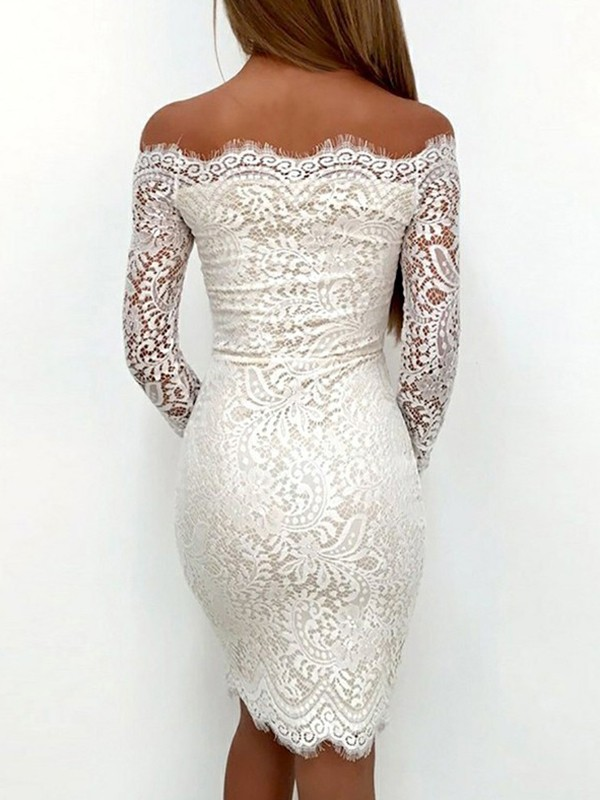 Sheath/Column Off-the-Shoulder Long Sleeves Lace Short Dresses