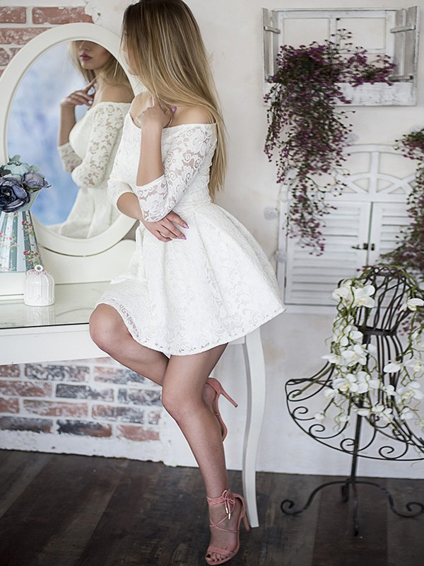 A-Line/Princess Off-the-Shoulder 3/4 Sleeves Ruffles Lace Short Dresses