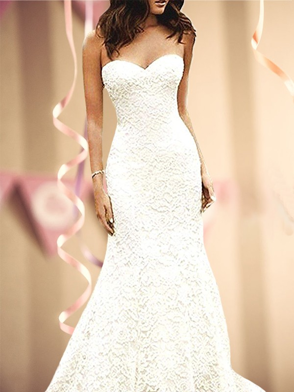 Mermaid Sweetheart Sleevleses Lace Sweep/Brush Train Wedding Dresses
