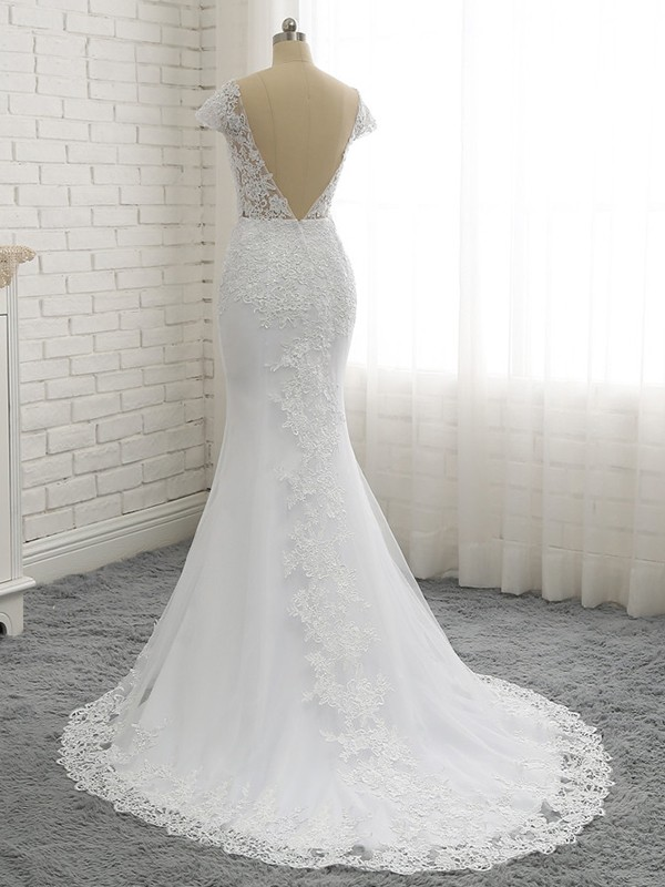 Mermaid Sweep/Brush Train Sweetheart Short Sleeves Lace Wedding Dresses