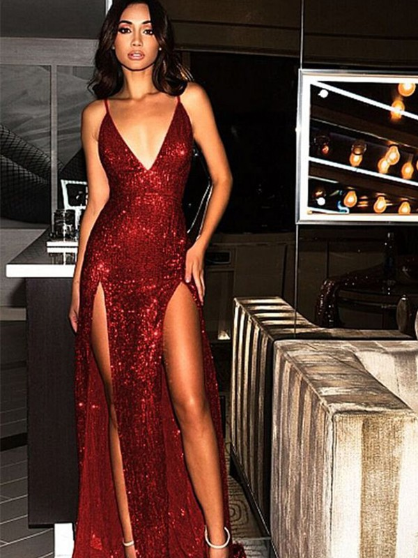 Sheath/Column V-neck Sleeveless Sweep/Brush Train Sequins Dresses