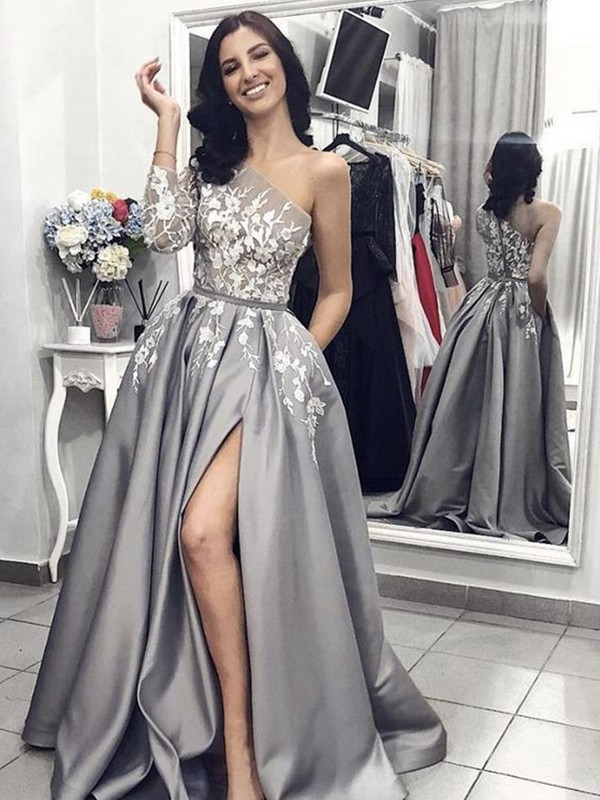 A-Line/Princess One-Shoulder Sleeveless Sweep/Brush Train Applique Satin Dresses