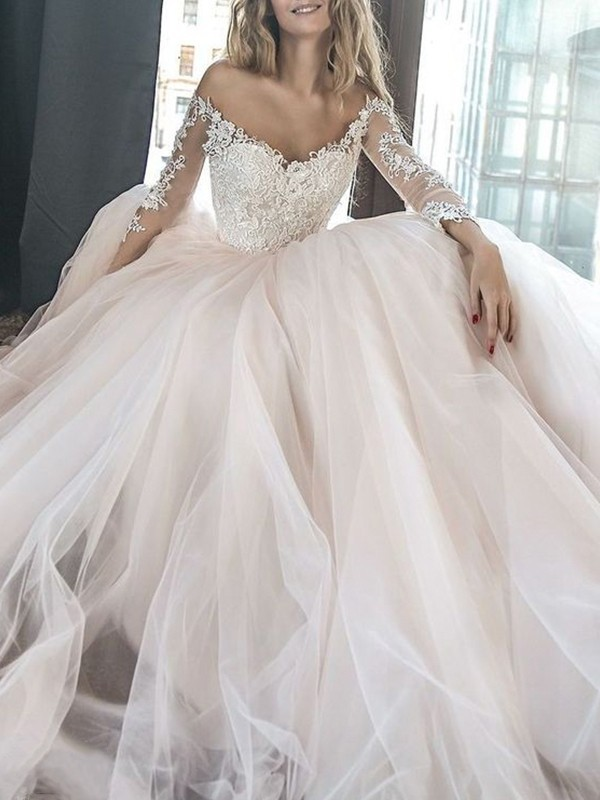 A-Line/Princess Off-the-Shoulder Long Sleeves Applique Court Train Tulle Wedding Dresses