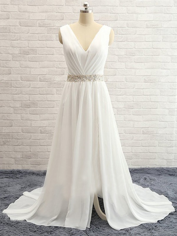 A-Line/Princess V-neck Sweep/Brush Train Sleeveless Chiffon Beading Wedding Dress
