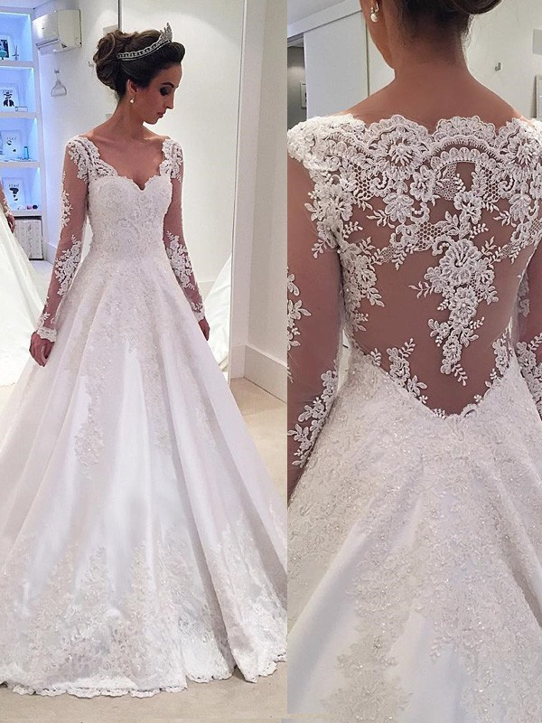 Ball Gown V-neck Lace Long Sleeves Court Train Satin Wedding Dress