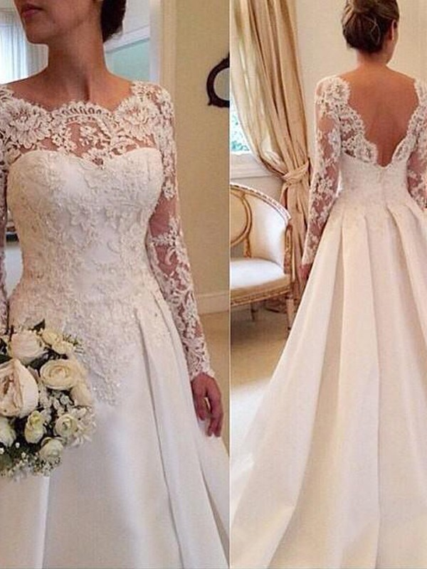 Ball Gown Long Sleeves Scoop Lace Court Train Satin Wedding Dress