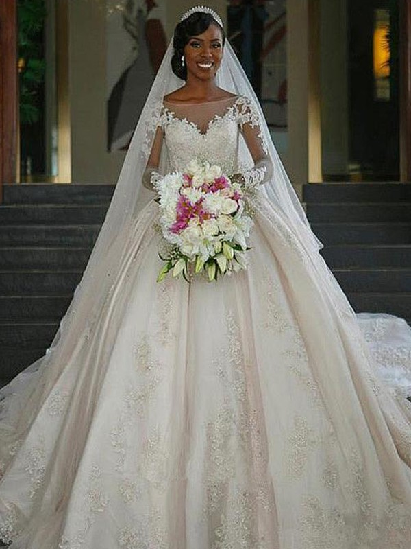 Ball Gown Bateau Long Sleeves Satin Sweep/Brush Train Wedding Dresses with Applique