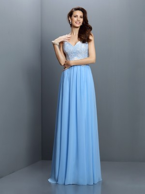 Princess V-neck Straps Sleeveless Lace Chiffon Floor-Length Bridesmaid Dresses