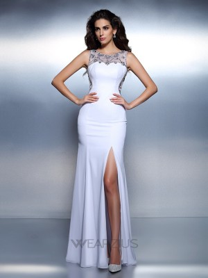 Trumpet/Mermaid Bateau Sleeveless Chiffon Beading Floor-Length Dresses