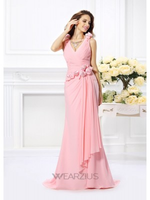 Mermaid Chiffon V-neck Sleeveless Hand-Made Flower Sweep/Brush Train Dresses