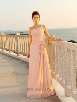 A-Line/Princess Sleeveless Chiffon One-Shoulder Beading Floor-Length Dresses