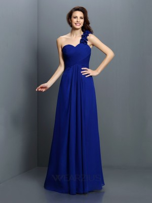 Princess Sleeveless One-Shoulder Hand-Made Flower Chiffon Floor-Length Bridesmaid Dresses