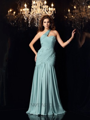 Trumpet/Mermaid Chiffon Sleeveless One-Shoulder Sweep/Brush Train Dresses