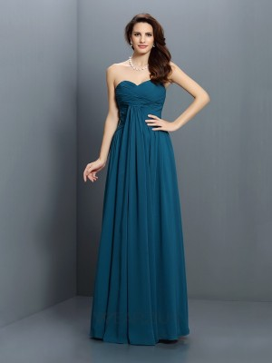 A-Line/Princess Sweetheart Sleeveless Pleats Floor-Length Satin Bridesmaid Dresses