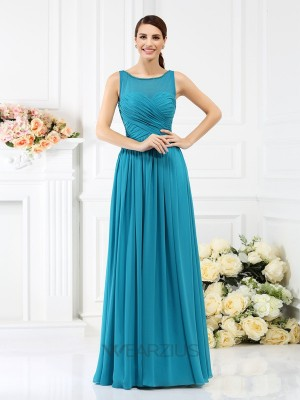 A-Line/Princess Bateau Sleeveless Chiffon Floor-Length Pleats Bridesmaid Dresses