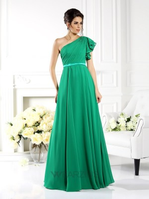 A-Line/Princess One-Shoulder Sleeveless Ruffles Chiffon Floor-Length Dresses