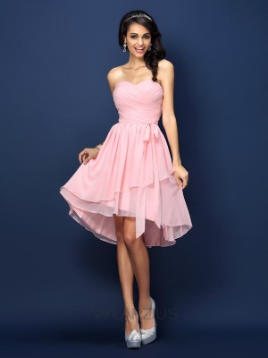 Princess Sweetheart Sleeveless Pleats Bowknot Chiffon Short/Mini Bridesmaid Dresses