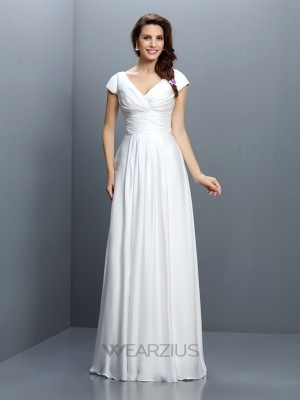 A-Line/Princess V-neck Short Sleeves Pleats Chiffon Floor-Length Bridesmaid Dresses