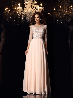 A-Line/Princess Scoop Chiffon 3/4 Sleeves Floor-Length Beading Dresses