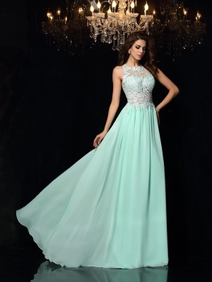 A-Line/Princess High Neck Sleeveless Chiffon Sweep/Brush Train Applique Dresses